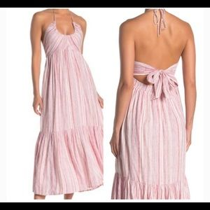 Free People Pink and White Striped Maxi Drrss